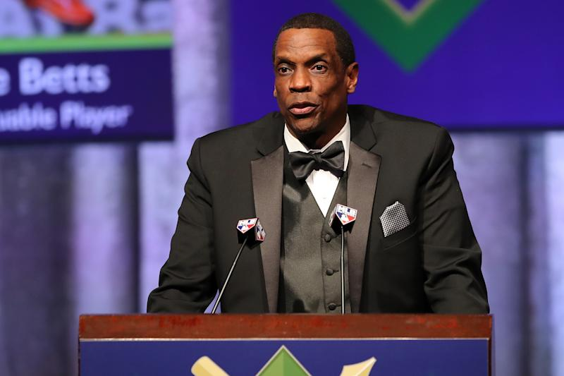 Dwight Gooden, shown here at the annual BBWAA awards dinner in January, was arrested for DUI on Monday night. (Photo by Alex Trautwig/MLB via Getty Images)