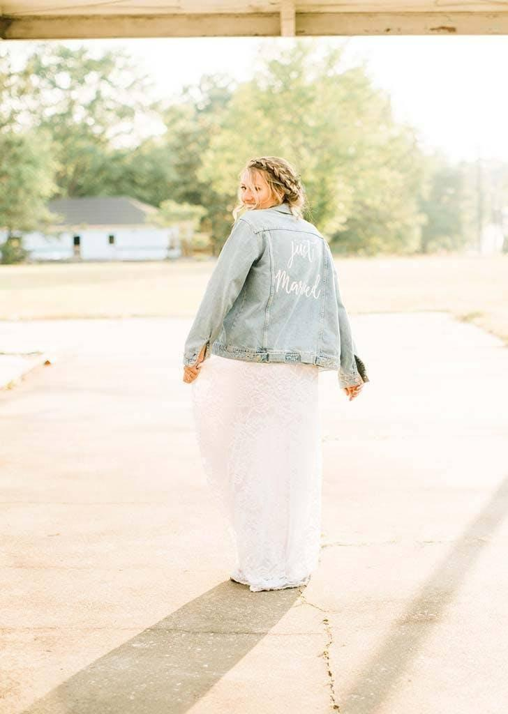 The bride's mum decorated a jean jacket (Danielle Riley Photography)