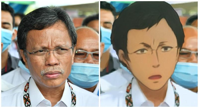 Shafie Apdal and Anime Shafie. Original photo by Shafie Apdal/Facebook