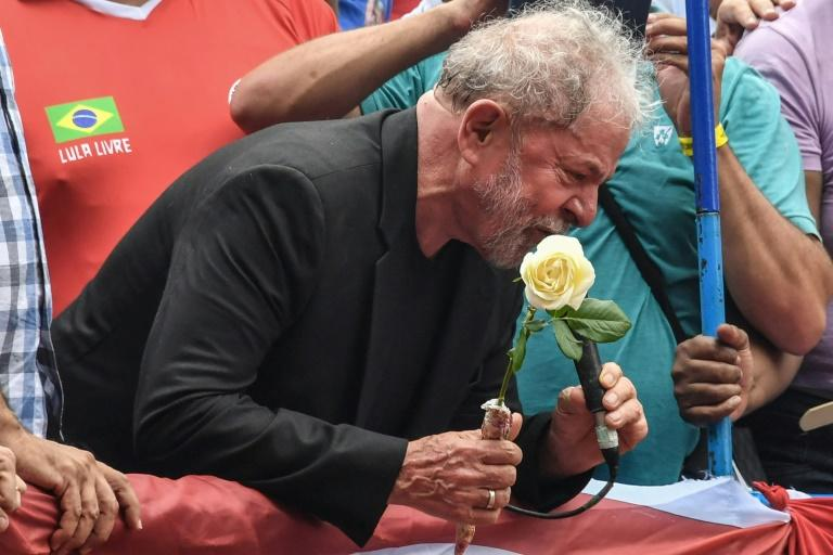 Lula speaks at the rally in in Sao Bernardo do Campo, Brazil, on November 9, 2019