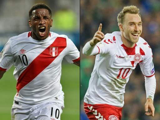 (COMBO) This combination of pictures created on June 14, 2018 shows Peru's Jefferson Farfan (L) in Lima, Peru, on November 15, 2017, and Denmark's midfielder Christian Eriksen (R) in Dublin on November 14, 2017. Denmark, in Group C, open their World Cup against Peru in Saransk on June 16 before facing Australia and France