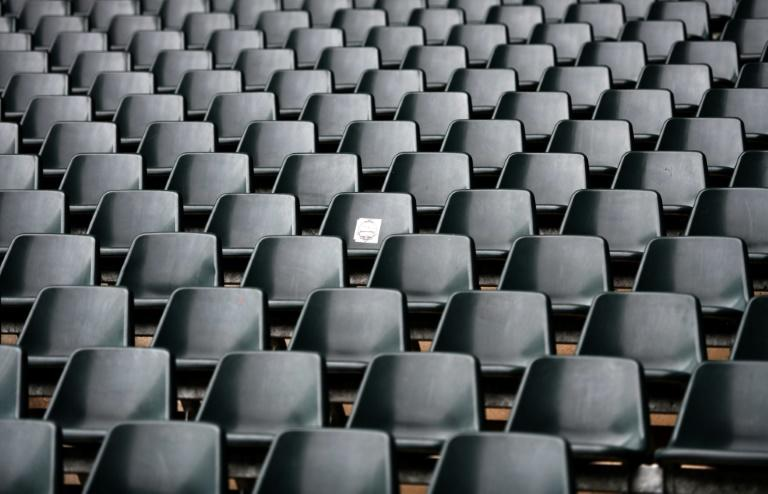 Empty seats and stands at Borussia-Park football stadium, home of Borussia Moenchengladbach