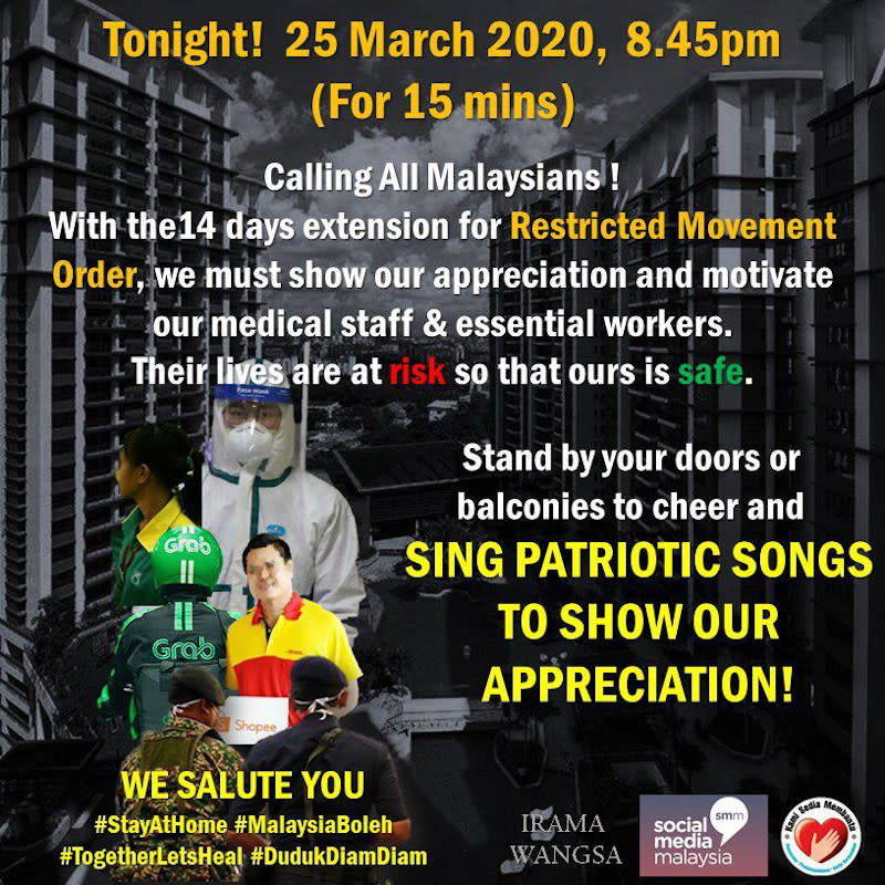 Residents were alerted by the committee about the patriotic sing-along. — Picture courtesy of Syed Khalid Alwee Aljuned