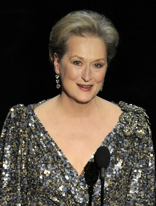 "FILE - In a Feb. 24, 2013, file photo Meryl Streep appears at the Oscars at the Dolby Theatre in Los Angeles. Streep was nominated for an Academy Award for best actress on Thursday, Jan. 16, 2014, for her role in ""August: Osage County."" The 86th Academy Awards will be held on March 2. (Photo by Chris Pizzello/Invision/AP, File)"