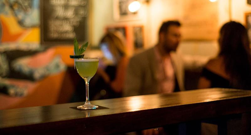 A cocktail sits on a countertop at Sydney's Bulletin Place bar.