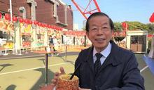 謝長廷視察東京鐵塔台灣祭 讚鳳梨飲品 (圖)