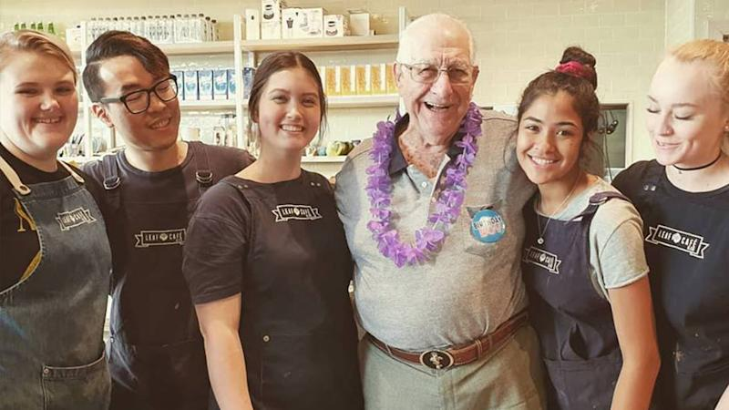 The Leaf Cafe and Co helped celebrate Harry's 90th birthday. Source: Facebook.