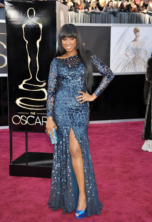 Actress/singer Jennifer Hudson arrives at the Oscars at the Dolby Theatre on Sunday Feb. 24, 2013, in Los Angeles. (Photo by John Shearer/Invision/AP)