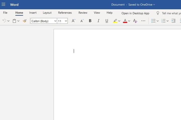 Microsoft Office Web app screenshot