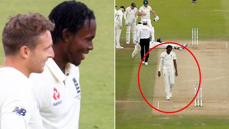 Jofra Archer, pictured here smiling after initially walking away from Steve Smith.