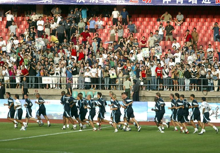 Real Madrid players training at Beijing Workers' stadium in August 2003