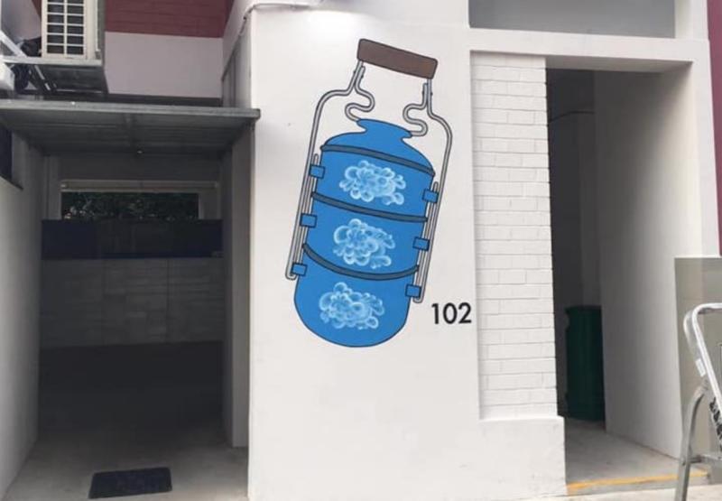 A wayfinding mural at a HDB block in Kebun Baru, to help persons with dementia (PHOTO: Alzheimer's Disease Association)