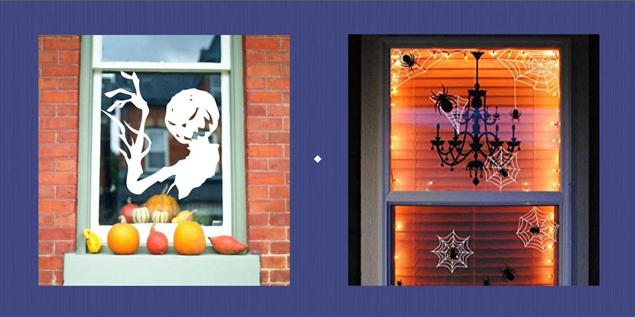 """<p>Getting your home ready for Halloween is fun...but it can certainly be a bit stressful too. After all, how are you to compete with the neighbors' immaculately carved jack-o'-lanterns and impressive <a href=""""https://www.countryliving.com/diy-crafts/g1370/outdoor-halloween-decorations/"""" target=""""_blank"""">outdoor Halloween decorations</a><strong></strong>? Enter these festive, creative Halloween window decor ideas. Even if you're not going all-out for Halloween this year and are just looking for some easy <a href=""""https://www.countryliving.com/diy-crafts/how-to/g1024/do-it-yourself-halloween-decorations-1010/"""" target=""""_blank"""">DIY Halloween decorations</a> to perk up your home, you can still compete with the most decorated houses on your block simply by adding one of these creepy Halloween window clings to all the most visible parts of your home. They're low-commitment and high impact, and best of all, they're totally kid- and wallet-friendly. From glow-in-the-dark spider decals to witchy silhouettes and lifelike bat cutouts, there's truly something here for every style, budget, and enthusiasm level. Just slap them on your windowpanes, wait until dark to snap a few fun photos (accompanied with these hilarious <a href=""""https://www.countryliving.com/life/a23109458/halloween-instagram-captions/"""" target=""""_blank"""">Halloween Instagram captions</a>), and call it a day! Bonus: With just a few minutes needed to decorate your home, you'll have ample time left over for all the other fun <a href=""""https://www.countryliving.com/diy-crafts/g22355935/halloween-family-activities/"""" target=""""_blank"""">Halloween family activities</a> you love, like baking sugary <a href=""""https://www.countryliving.com/food-drinks/g1194/halloween-treats/"""" target=""""_blank"""">Halloween treats</a>, trick-or-treating with your kids, and crafting the ultimate <a href=""""https://www.countryliving.com/diy-crafts/g4571/diy-halloween-costumes-for-women/"""" target=""""_blank"""">DIY Halloween costumes</a>.<br></p>"""