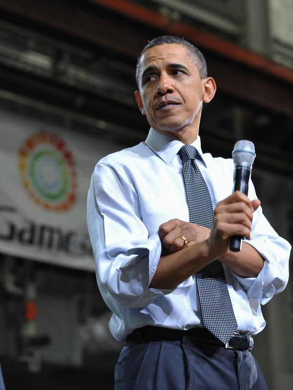 Presiden AS Barack Obama berbicara dalam sebuah pertemuan balai kota di fasilitas manufaktur turbin energi angin Gamesa Technology Corporation pada tanggal 6 April 2011 di Falls Fairless Hills, Pennsylvania. (AFP Photo/Mandel Ngan)