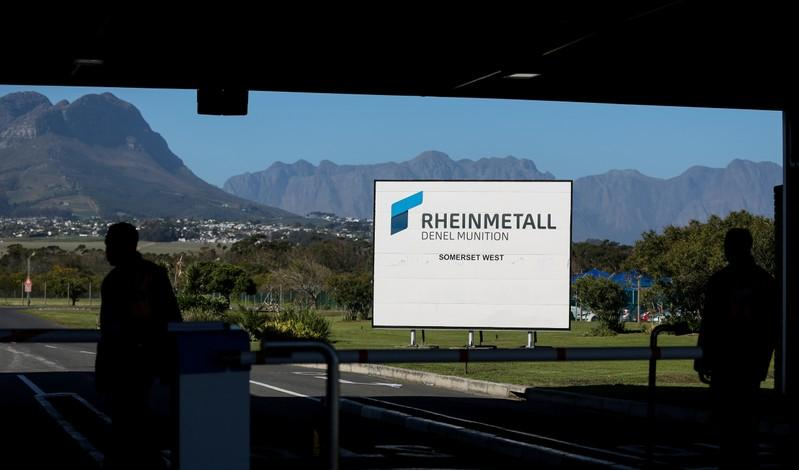 FILE PHOTO: A company logo is seen at the entrance to the Rheinmetall Denel Munition plant near Cape Town, South Africa