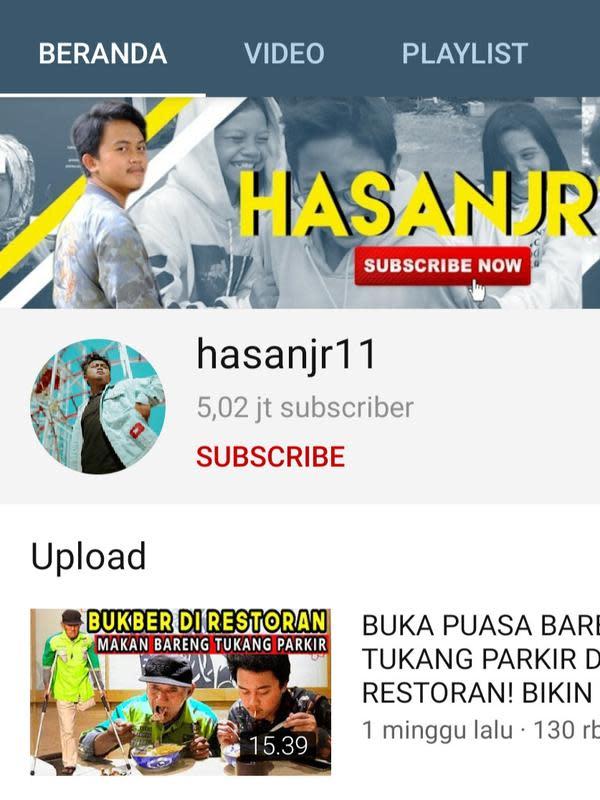 Beranda kanal YouTube Hasanjr11. (Foto: YouTube)