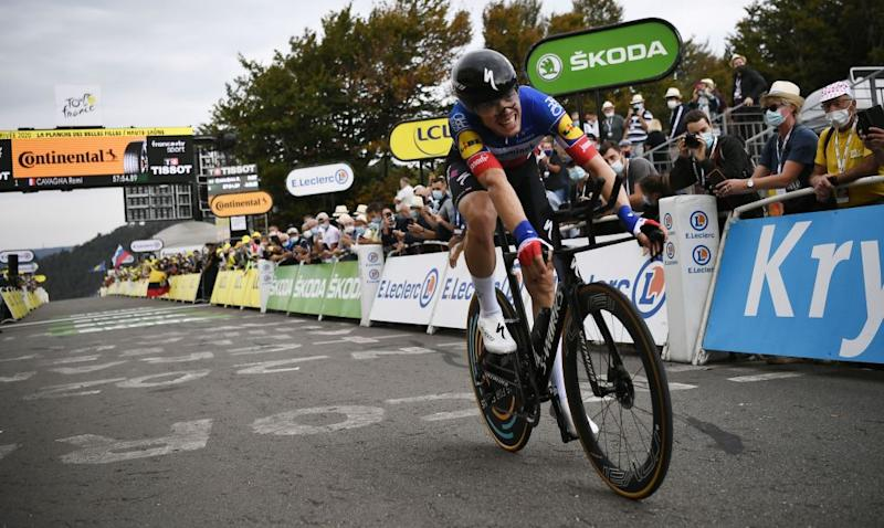 Team Deceuninck rider French Remi Cavagna crosses the finish line at the end of the 20th stage of the 107th edition of the Tour de France cycling race a time trial of 36 km between Lure and La Planche des Belles Filles on September 19 2020 Photo by Marco Bertorello POOL AFP Photo by MARCO BERTORELLOPOOLAFP via Getty Images