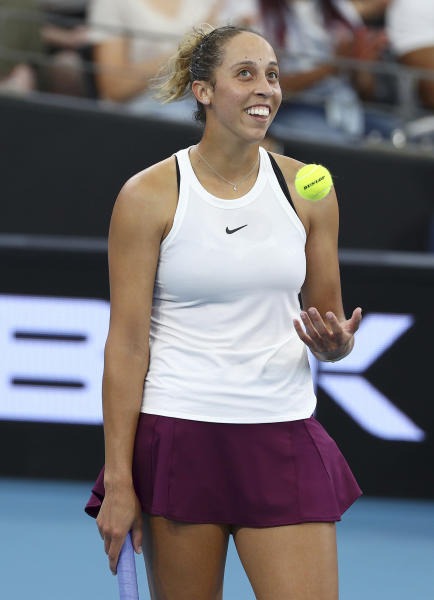 Madison Keys of the United States reacts after missing a point during her final match against Karolina Pliskova of the Czech Republic at the Brisbane International tennis tournament in Brisbane, Australia, Sunday, Jan. 12, 2020. (AP Photo/Tertius Pickard)