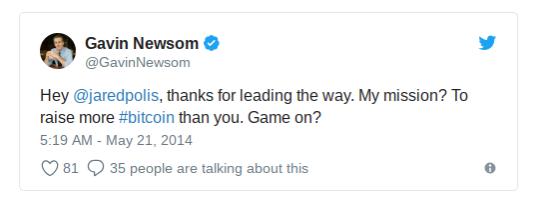 Gavin Newsom 2014年的推文,凸顯其對比特幣的重視