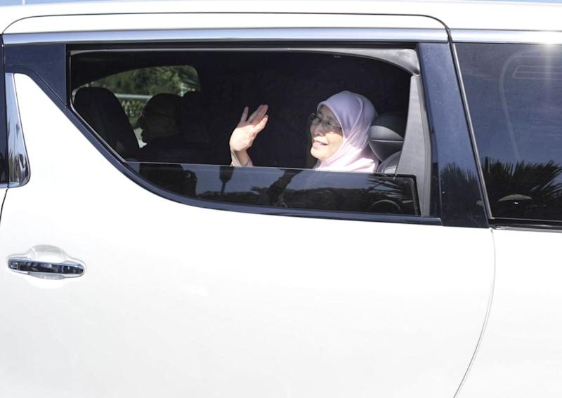 Datuk Seri Dr Wan Azizah Wan Ismail waves at reporters as she arrives at Perdana Putra February 25, 2020. — Picture by Shafwan Zaidon