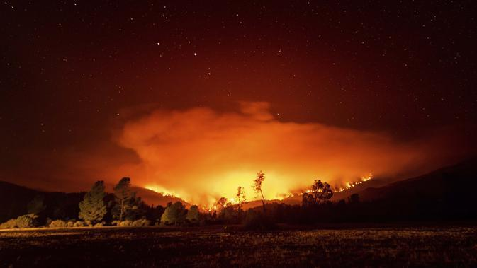 Api membakar Kompleks Agustus di dekat Danau Pillsbury di Hutan Nasional Mendocino, California, Rabu (16/9/2020). (AP Photo/Noah Berger)
