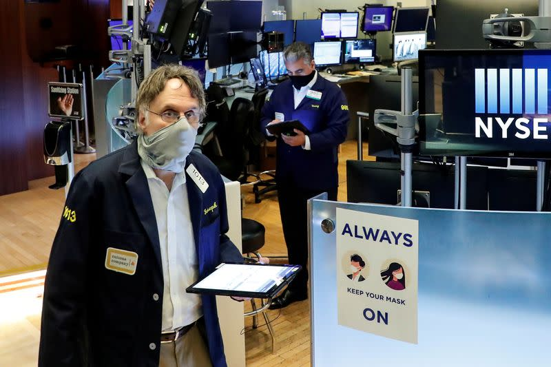 Stocks rise, yields slip as investors await stimulus
