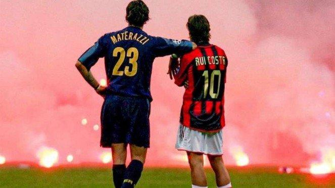 Momen mesra Marco Materazzi dan Rui Costa di Derby della Madonnina.