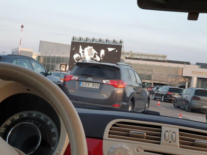 Drive-in cinema, set up during the coronavirus disease (COVID-19) outbreak at the Vilnius International Airport