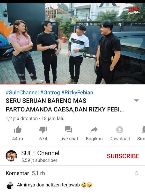 Unggahan Sule. (Foto: YouTube Sule Channel)