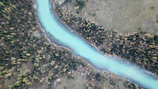 Foto dari udara yang diabadikan pada 28 September 2020 ini menunjukkan pemandangan musim gugur kawasan wisata Kanas di Altay, Daerah Otonom Uighur Xinjiang, China barat laut. (Xinhua/Zhang Yudong)