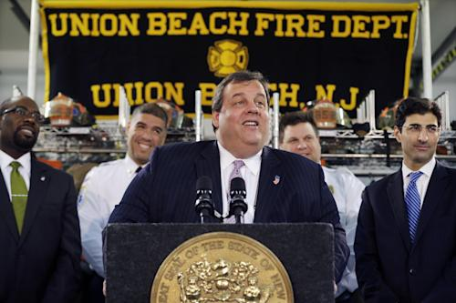 "New Jersey Gov. Chris Christie smiles Tuesday, Feb. 5, 2013, in Union Beach, N.J., as he is playfully asked about his weight. Christie has termed his plumpness ""fair game"" for comedians. And during his first appearance on ""Late Show with David Letterman"" on Monday, the outspoken Republican and potential 2016 presidential contender read two of Letterman's jokes that he said were ""some of my personal favorites."" (AP Photo/Mel Evans)"