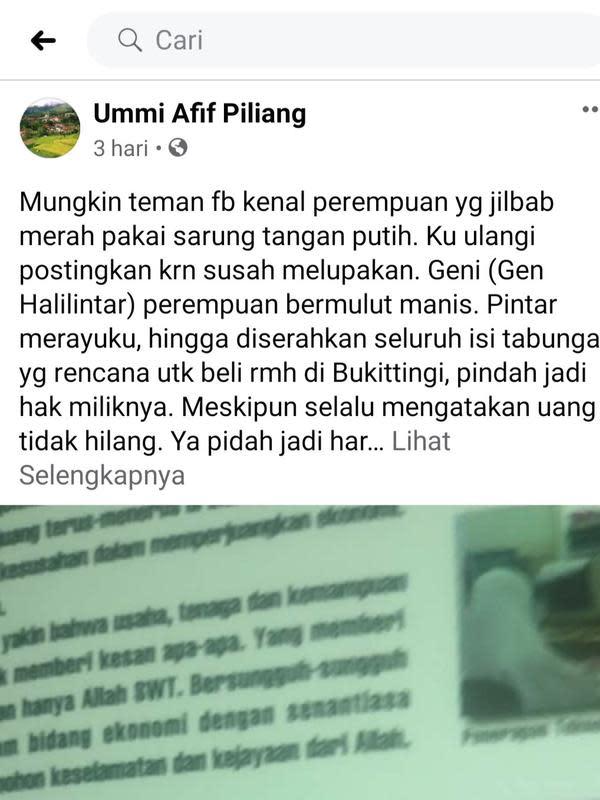 Unggahan Ummi Afif Piliang. (Foto: Facebook Ummi Afif Piliang)