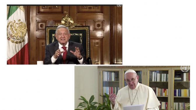 Atas: Presiden Meksiko, Andrés Manuel López Obrador ; Bawah: Paus Fransiskus