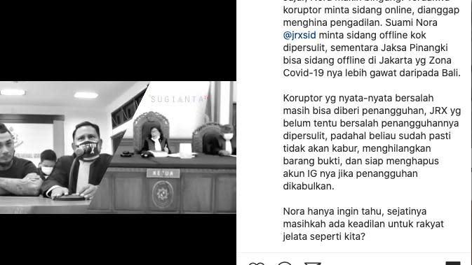 Nora Alexandra Bandingkan Jerinx SID dengan Terdakwa Koruptor. (instagram.com/ncdpapl)