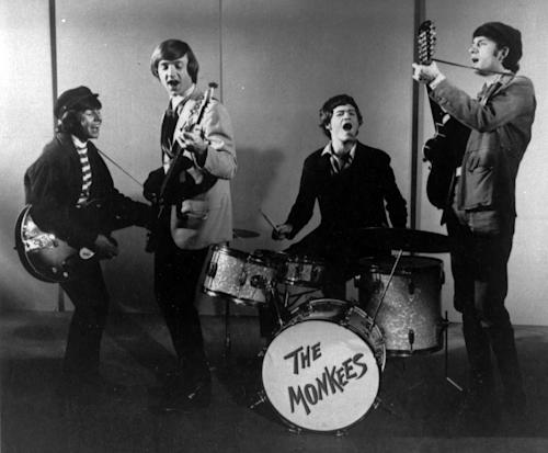 "FILE - This 1966 photo shows The Monkees, singing group. Shown from left, are, Davy Jones, Peter Tork, Micky Dolenz and Mike Nesmith. Jones died Wednesday Feb. 29, 2012 in Florida. He was 66. Jones rose to fame in 1965 when he joined The Monkees, a British popular rock group formed for a television show. Jones sang lead vocals on songs like ""I Wanna Be Free"" and ""Daydream Believer."" (AP Photo/fls)"