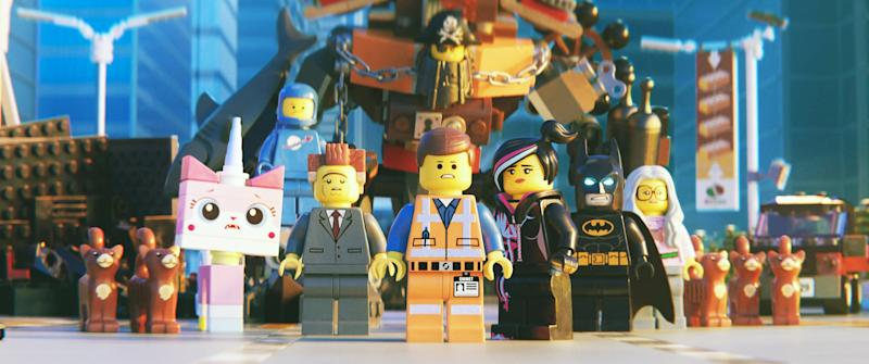 THE LEGO MOVIE 2: THE SECOND PART, (back center): Metalbeard (voice: Nick Offerman), (front row): Unikitty (voice: Alison Brie), Benny (voice: Charlie Day), President Business (voice: Will Ferrell), Emmet (voice: Chris Pratt) (in yellow suit), WylLucy (voice: Elizabeth Banks), Batman (voice: Will Arnett), 2019. Warner Brothers / courtesy Everett Collection