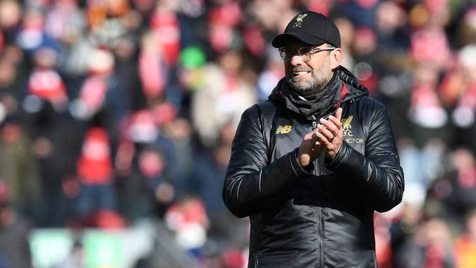 Jurgen Klopp puas dengan performa Liverpool saat mengalahkan Burnley pada laga pekan ke-30 Premier League 2018-19. (AFP/Paul Ellis)