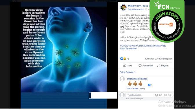 Hoaks kumur dicampur cuka bisa hilangkan covid-19. (Facebook/Military Boy)
