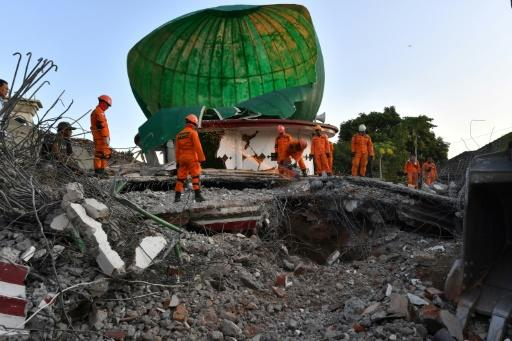 Worshippers were at prayer when the quake hit Lombok on Sunday evening