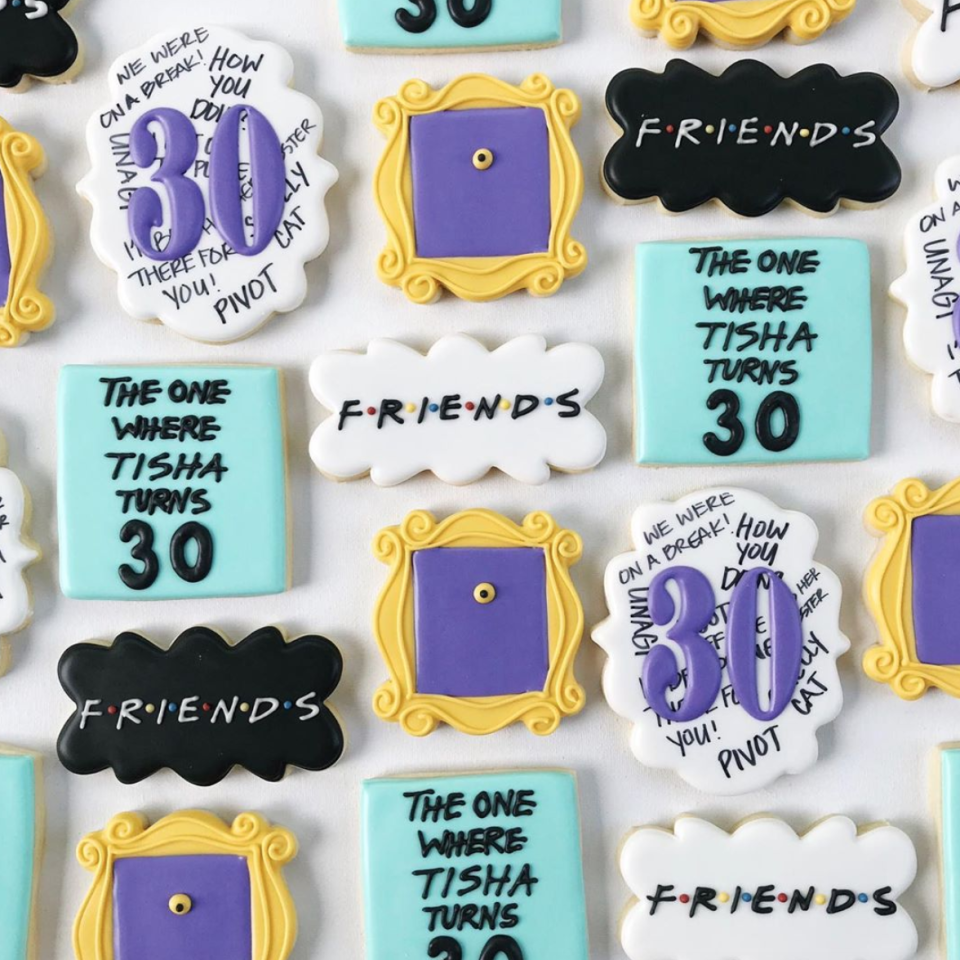 "<p>For all the pivot-screamers and ""Smelly Cat"" crooners out there, these <em>Friends</em>-themed 30th birthday cookies are sure to be a hit.</p><p><strong>See more at </strong><a href=""https://www.instagram.com/p/B2b08FZguK0/"" target=""_blank""><strong>The Tennessee Sugar</strong></a><strong>. </strong></p><p><a class=""body-btn-link"" href=""https://www.amazon.com/Wilton-704-242-Violet-Icing-Tube/dp/B001683RTG/?tag=syn-yahoo-20&ascsubtag=%5Bartid%7C10050.g.31122098%5Bsrc%7Cyahoo-us"" target=""_blank""><strong>SHOP PURPLE ICING</strong></a></p>"