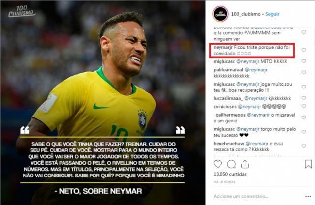 Neto chama Neymar de 'mimadinho' e jogador rebate: 'Ficou triste porque não foi convidado'