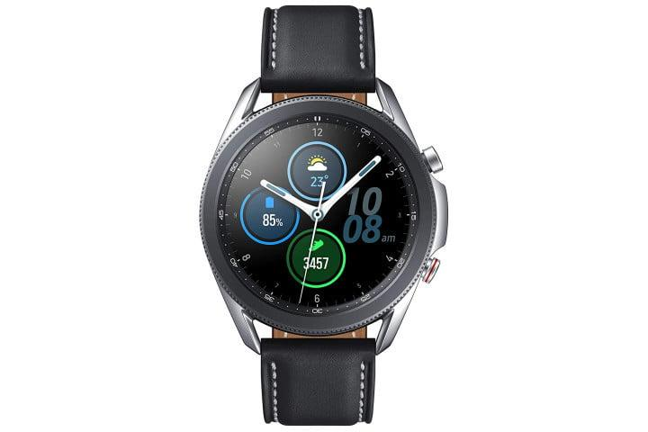 Picture shows a black Samsung Galaxy Watch 3 on a black strap