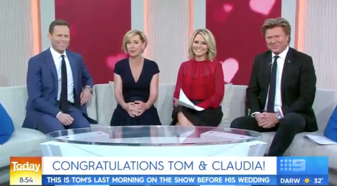The Today show cast celebrated newsreader Tom Steinfort's upcoming wedding on Wednesday morning. Photo: Channel Nine