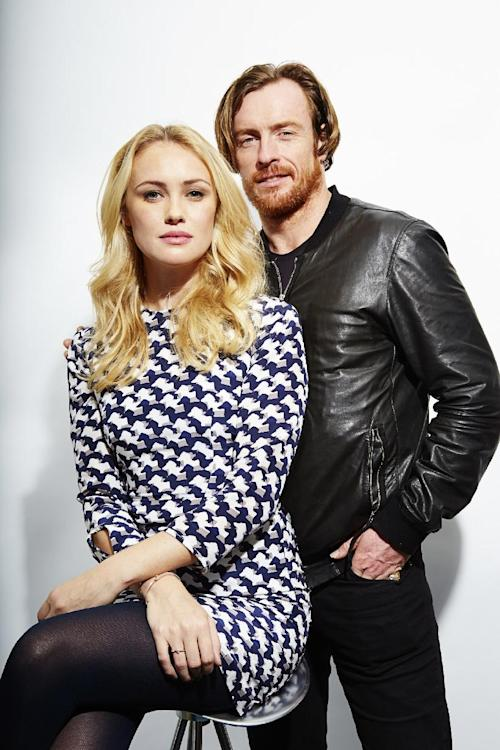 "This Oct. 15, 2013 photo shows Toby Stephens, right, and Hannah New, from the new Starz original series, ""Black Sails,"" in New York. The series premieres Saturday, Jan. 25. (Photo by Dan Hallman/Invision/AP)"