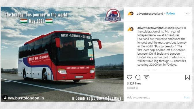 Perjalanan Adventures Overland akan dilaksanakan pada 2021 mendatang dengan menempuh lebih dari 20 ribu kilometer dalam 70 hari dan menyambangi 18 negara. (dok. Instagram @adventuresoverland/https://www.instagram.com/p/CD5YzcGpGHX/?hl=en)