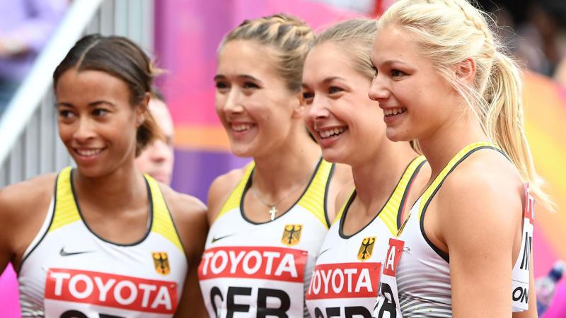 Tatjana Pinto, Rebekka Haase, Gina Luckenkemper and Lisa Mayer, pictured here at the 2017 world championships.