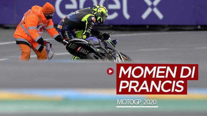 VIDEO: Momen Valentino Rossi Crash Hingga Pertarungan Sengit 4 Rider di MotoGP Prancis