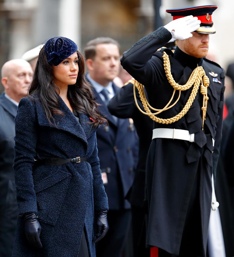 A photo of Meghan, Duchess of Sussex and Prince Harry, Duke of Sussex at the 91st Field of Remembrance at Westminster Abbey on November 7, 2019 in London, England.