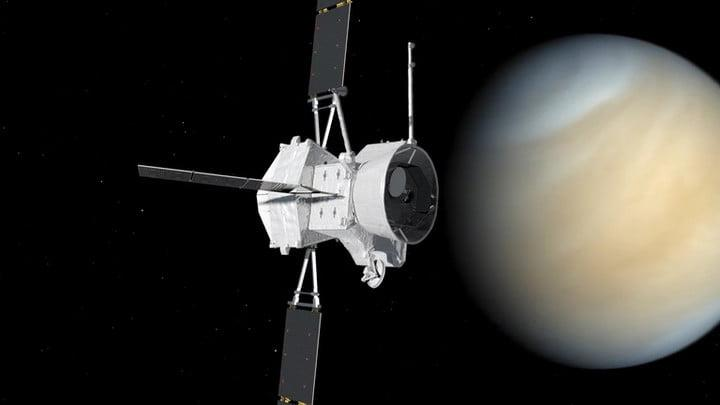 An artist's impression visualising the BepiColombo spacecraft flying past Venus.