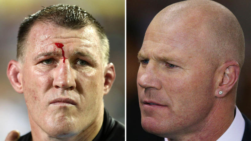 Paul Gallen (pictured left) has ignited the 'Code War' ahead of his bout against Barry Hall (pictured right). (Getty Images)